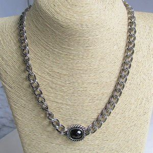 3 for $25 Silver Curb Chain Necklace Black Crystal